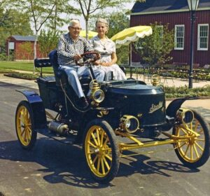 Donald and Genevieve Gilmore in a car