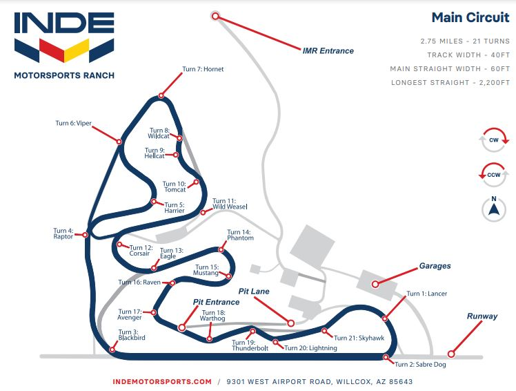 Map of INDE Motorsports Ranch Racetrack