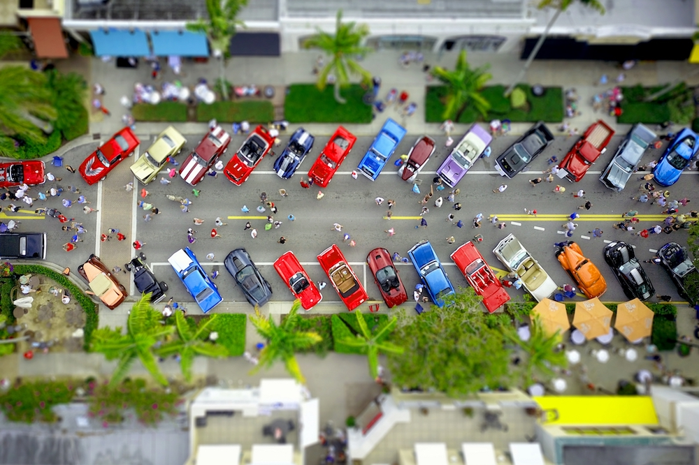 Aerial view of cars a show