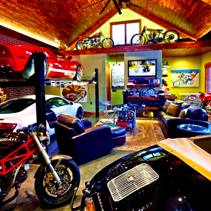 Car Garage Mancave with Motorclyes and Automobile Collection