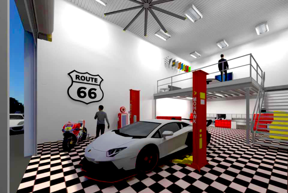 Inside a custom car condo garage unit