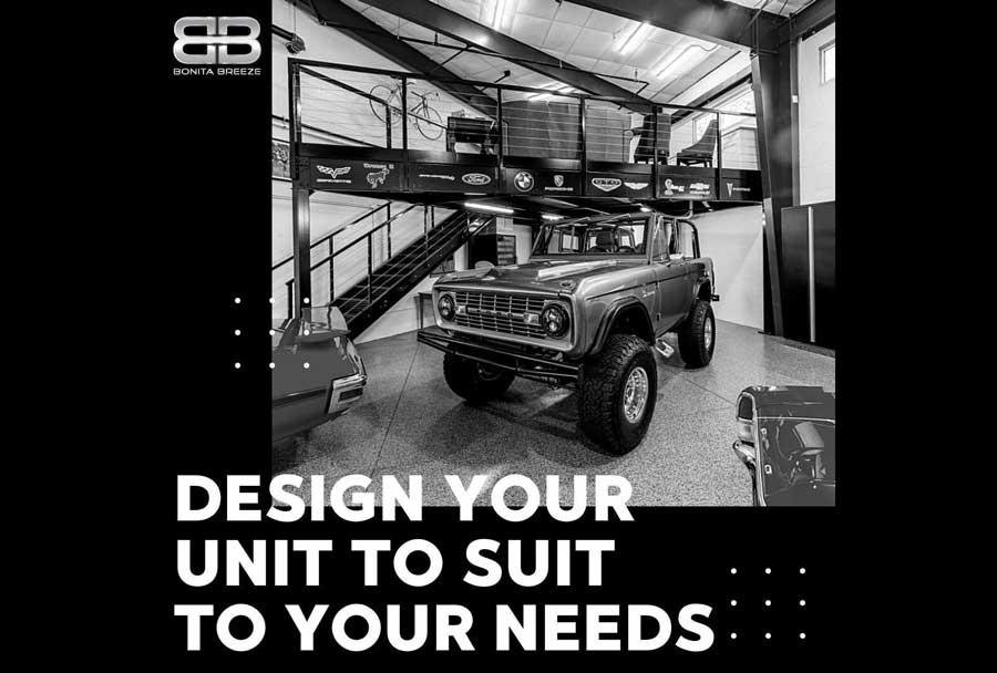 Custom Built Garage Storage with classic vehicle