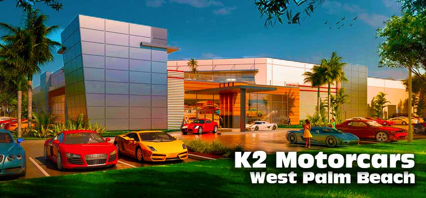 Front View of K2 Motorcars Car Club New West Palm Beach