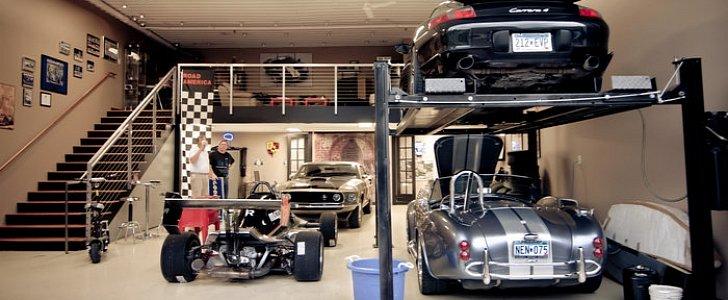 Inside a custom built luxury car storage unit