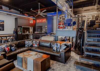 The Motor Enclave Custom Mancave with Large Lounge and Bar