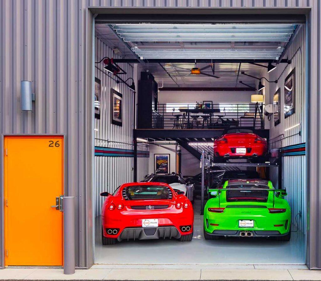 Inside a car condo garage