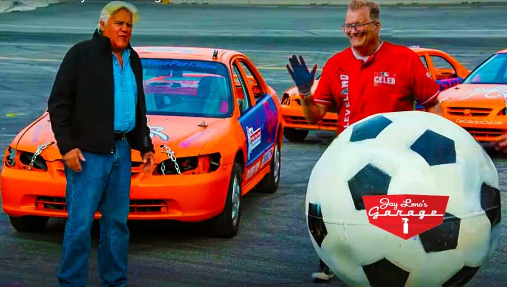 Drew Cary and Jay Leno on Race Track