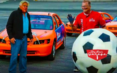 Comedian Drew Carey and Jay Leno Destroy Car Collection in Car Soccer Match