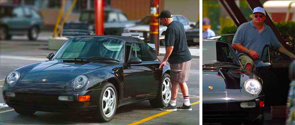 Drew Carey In His Back Shiney Black Porsche 911 Cabriolet