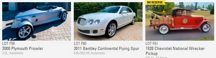 2006 Mercedes-Benz R500, 2000 Plymouth Prowler and 2011 Bentley Continental Flying Spur